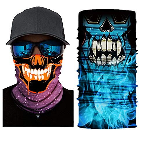Ligart 3D Skull Face Mask Sun Dust Protection,Seamless Bandana Skeleton Face Shield Face Mask for Men Women Bike Riding Motorcycle Fishing Hunting Cycling Outdoor Festival Skull Clown
