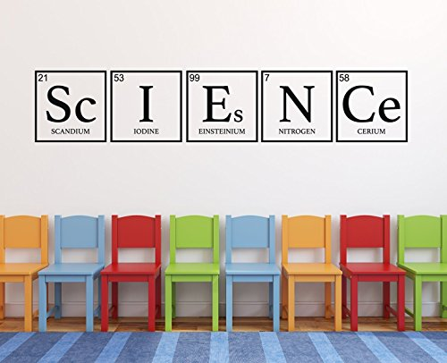 Science Classroom Wall Decal - Periodic Table of Elements Decoration For Bedroom, Playroom Or Study Area -