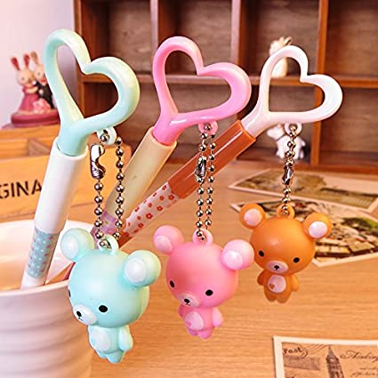 TryTry Set of 12 Cute Novelty Creative Cartoon Korean Style Animals Little Bear With Love Heart Black Ink Gel Ink Rollerball Pens 0.38mm Fine Point Set Gifts Prizes For Kids School Girls Boys Students