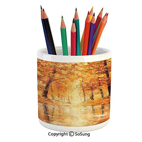 Printed Ceramic Pencil Pen Holder Case Box,Painting of a Forest by the Small Lake in Autumn Pale Fall Trees and Leaves Mod Art Beautiful Stationery for Daily Use in Office,Classroom,Home,Gift Idea,Ora (Mod Ladybug)