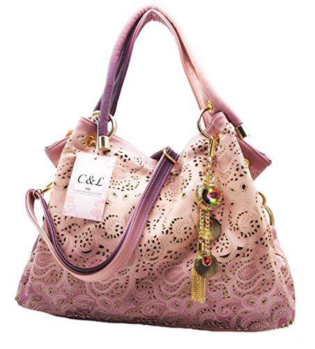 Tote Pink Fabric Handbags - 8