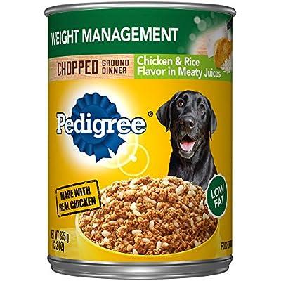 Pedigree Chopped Ground Dinner Weight Management Chicken & Rice Wet Dog Food 13.2 oz. (12 Count)