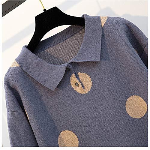 Polka Risvolto Maniche Collare Con Dots Donna A Blu Maglia In Invernali Cas Lunghe Da Abiti q7Azfz