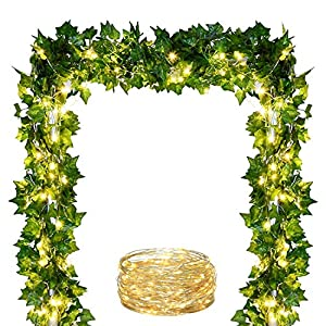 Comtelek 84 FT Artificial Ivy 12 Pack Ivy Vine Garland Ivy Leaves Greenery Garlands Clip Hanging Fake Leaf Plants Faux Green Flowers Decor Home Kitchen Garden Office Wedding Wall 44