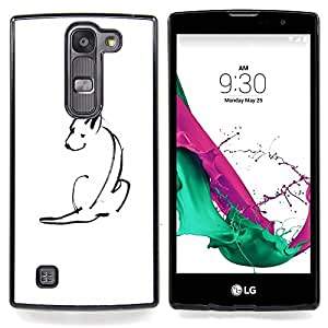 - Minimalist Cute Dog Sketch Pet White - - Snap-On Rugged Hard Cover Case Funny HouseFOR LG Volt 2 / LG G4 Mini (G4c)