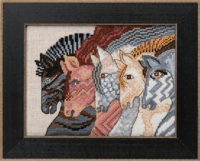 Moroccan Mares Beaded Counted Cross Stitch Kit (Aida) Mill Hill 2017 Laurel Burch Horses Collection LB301722 (Horse Moroccan Laurel Mares Burch)