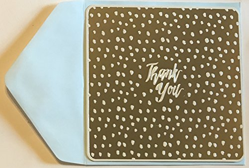 Silver Foil Embellished Thank You Note Cards and Envelopes- 16 Single Panel Note Cards and Envelopes