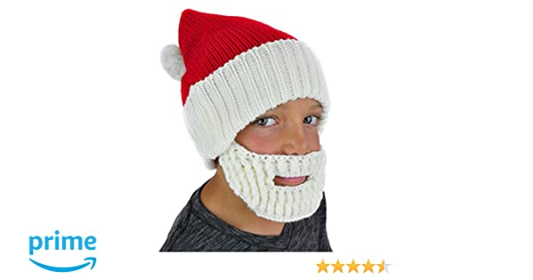 1c2016059a2 Amazon.com  Neon Eaters Santa Hat Beanie Beard - Kids Boys Mens Fun Cute  Ski Winter Knit Snowboard  Clothing