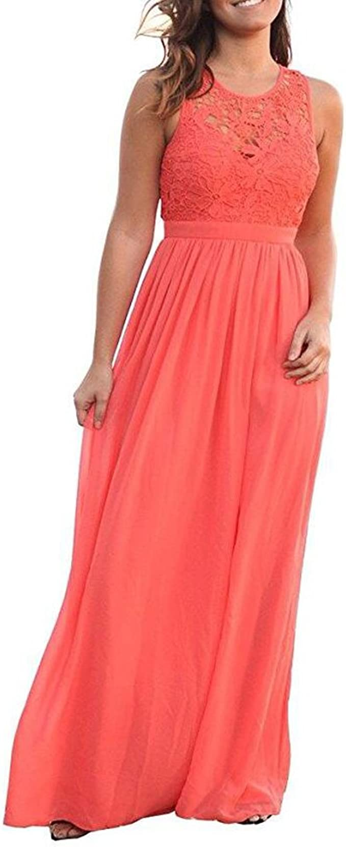 Amazon.com Botong A Line Coral Long Chiffon Bridesmaid Dress Lace ...