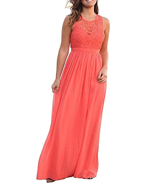 54fefe3100fad Botong Coral Long Chiffon Bridesmaid Dress Lace A-Line Wedding Party Gown  Coral US2