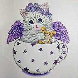 Voberry Cute Cat 5D Diamond Painting Embroidery DIY Paint-By-Diamond Kit Home Wall Decor (D)