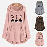 Ranoff Top Loose Sweatshirt Women's Hoodie Long Sleeve Pocket Plush Cute Cat Embroidered Solid Color Jacket Sweatshirt Plus Size Warm Hoodie (Brown, XXL)