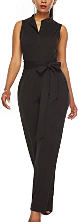 WIWIQS Women Button Up Printed Long Wide Leg Pant Party Jumpsuits with Belt