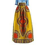 Zimaes Women Plus Size Africa Highwaist Dashiki Stylish Simple Long Skirt 3 XL