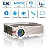 Smart LCD Android Wifi Projector Bluetooth Home Cinema 4200 Lumen LED 1080P Indoor Outdoor Wireless Airplay Miracast for iPhone Smartphone Mac APPs YouTube Kodi with HDMI USB VGA AV TV 3.5mm Audio Out