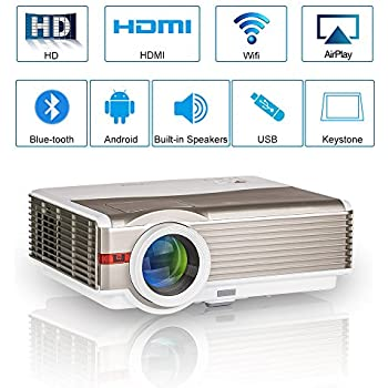 EUG Wifi Bluetooth LED Projector HDMI Wireless Android Smart LCD Video Projector WXGA Support Full HD 1080P 5000 Lumens Home Theater Movie Gaming ...