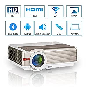 WXGA HD Smart WiFi Bluetooth Projector Wireless LED Android Home Cinema 5000 Lumen Support Airplay HDMI 1080P LCD Outdoor Movie Theater USB VGA AV Audio Out iPhone Mac iPad Smartphone TV DVD Projector