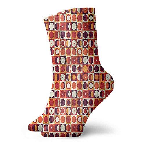 (Shiny Socks Short Summer Thin Geometric,Sixties Style Ovals 3.4
