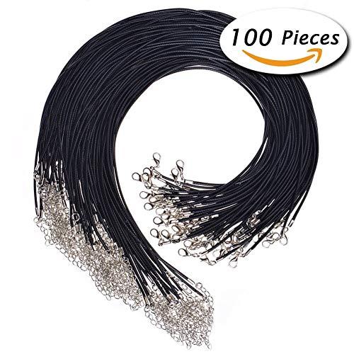 Paxcoo 100pcs Negro encerado collar cordón con cierre Bulk para pulsera collar y joyería hacer (20')