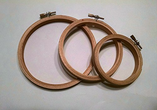Wood Embroidery, Cross Stitch & Quilting Round Hoop Set: 4 Inch, 5 Inch & 6 Inch
