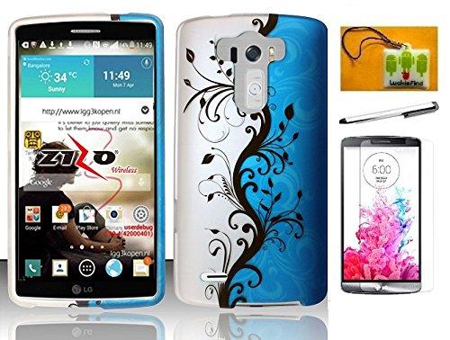 LF 4 in 1 Bundle - Blue Vine Designer Hard Case Cover, Stylus Pen, Screen Protector & Wiper for (Verizon, AT&T, Sprint, T-Mobile) LG G3 (Blue Vine)
