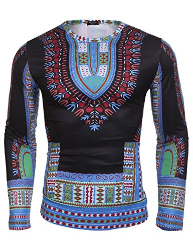 Modfine Men's Unisex Long Sleeve African Printed Casual Slim Fit Dashiki T Shirts Tops(Clear Blue,Medium)