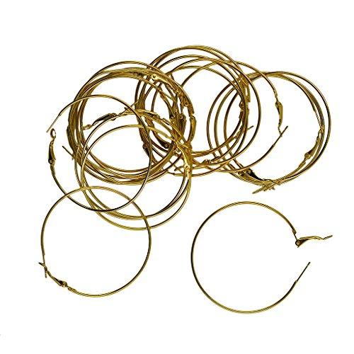 MonkeyJack 20pcs Women Gold Silver Plated Lady Round Big Large Hoop Loop Earrings Findings - Gold