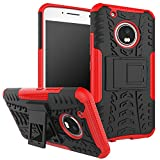 Parallel Universe Moto G5 Plus Dual Layer Rugged And Tough Defender Back Cover Case With Built-In Stand - Red