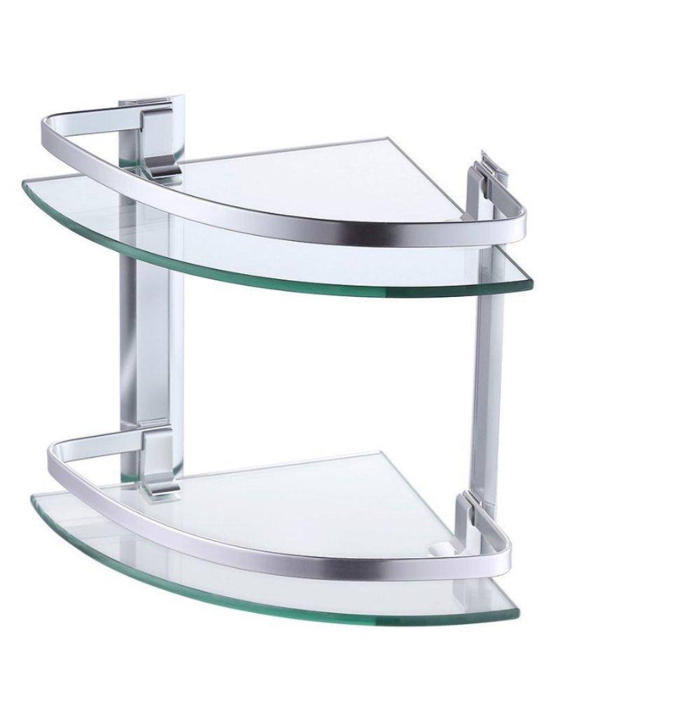 Winsday Aluminum Bathroom 2-Tier Glass Corner Shelf with Towel Bar ...