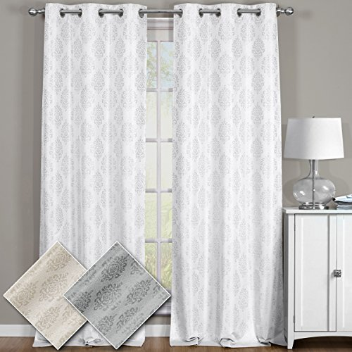 Paisley Jacquard Off White, Top Grommet Blackout Window Curtain Panels, Pair / Set of 2 Panels, 38x84 inches Each, by Royal Hotel