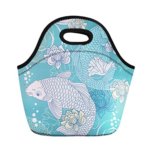 Semtomn Lunch Bags Pattern Blue Japanese Koi Carp Chinese Fish Oriental Japan Neoprene Lunch Bag Lunchbox Tote Bag Portable Picnic Bag Cooler - Chinese Woodcut
