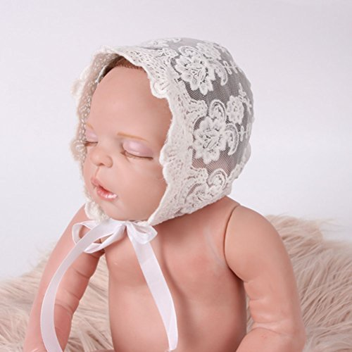 OULII Newborn Baby Girl Lace Silk Ribbon Adjustable Cap Hat Photo Props Favors (White)