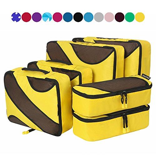6 Set Packing Cubes,3 Various Sizes Travel Luggage Packing Organizers (Yellow)