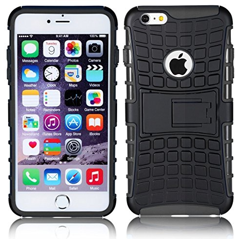 Deet® Apple iPhone 6/6S Heavy Duty Coque de protection antichoc [Noir]