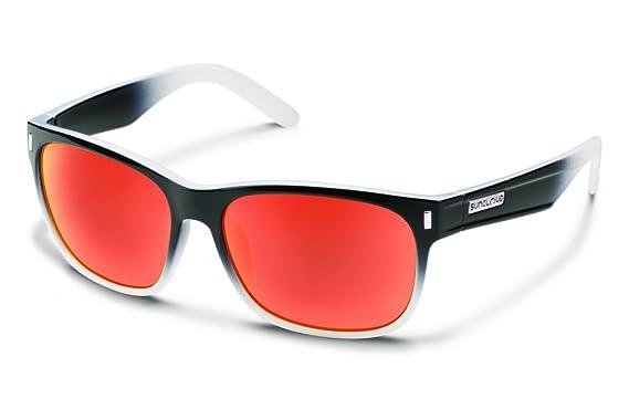 Suncloud S dapprmbkf Unisex Negro Fader Marco Rojo Espejo polarizadas Gafas de Sol Wayfarer