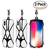 [2 Pack] AnsTOP Universal Silicone Lanyard, Phone Sling Neck Strap Holder Wrist Strap With Detachable Lanyard Strap For iPhone X, 8 8 Plus,7 7 Plus Samsung Galaxy S8 (Black)