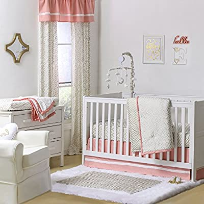 Gold Dot and Chevron Zig Zag 4 Piece Baby Crib Bedding Set with Coral Pink