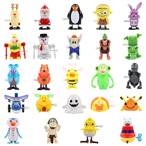 FUNNISM 24 Pieces Assorted Wind Up Toys for Kids Party Favors Childrens Birthdays Gifts