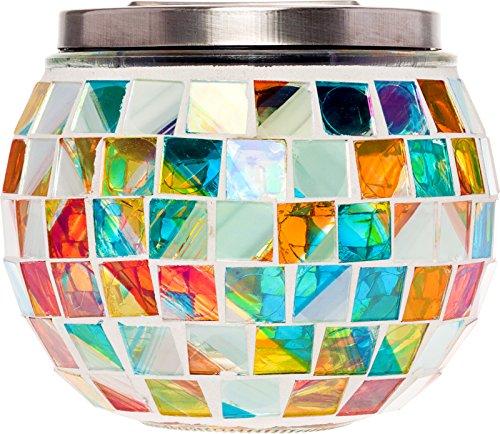 GreenLighting Color Changing Mosaic Solar Mason Jar Light - Decorative LED Outdoor Garden Table Light by by GreenLighting