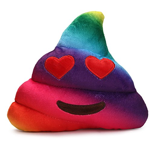 Faber3 Rainbow Emoji Pillow Christmas Gift Plush Soft Toy Poop Cow Doll Toy Amusing Emoji Emoticon Cushion Heart Eyes Poo Shape Pillow Emoticon Queen Poop Cow Pillow Poop Emoji Smiley (B) (Poop Shapes Toy)