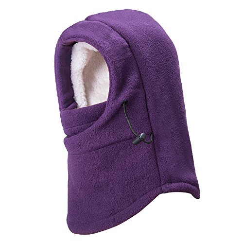 REDESS Kids Winter Windproof Hat, Unisex Children Heavyweight Balaclava, Ski Mask With Thick Warm Fleece Face Cover For Kids Purple