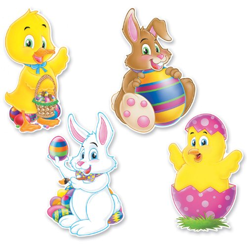 Pkgd Easter Cutouts   (4/Pkg) Easter Cut Out Decorations