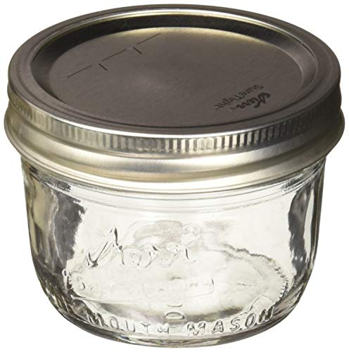 Kerr Wide Mouth Half-Pint Glass Mason Jars 8-Ounces with Lids and Bands 12-Count per Case (1-Case) ()