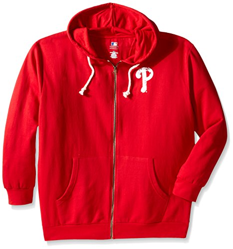 MLB Philadelphia Phillies Women's Plus Size Zip Hood with Logo, 2X, Red by Profile Big & Tall