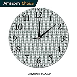 PUTIEN Custom Print Wall Clock - Curvy Different Sized Lines Bold Stripes Ocean Waves Inspired - for Decoration Round Wall Clock, 10 by 10-Inch