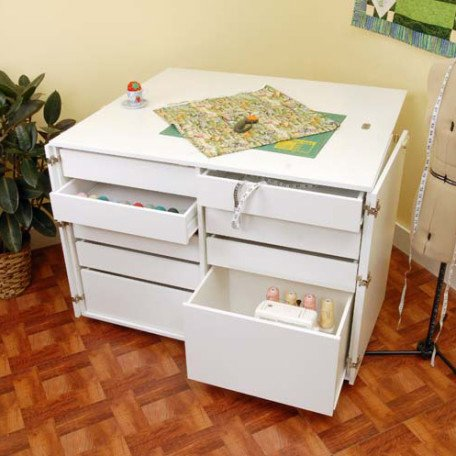 Dingo, Nine Drawer Sewing Storage Cabinent, Ash White - Kangaroo Kabinets K7911