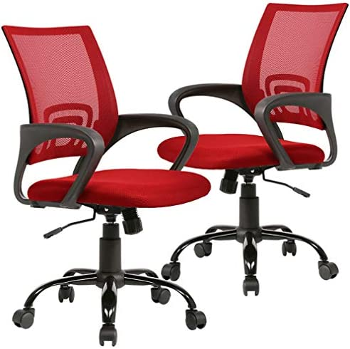 Office Chair Desk Chair Ergonomic Computer Chair Mesh Back Support Modern Executive Adjustable Rolling Swivel Chair for Home Office, Red 2PC