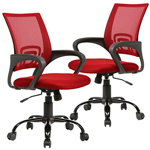 BestOffice Office Ergonomic Desk Mesh Executive Computer Chair with with Arms for Back Pain, Set of 2, Red