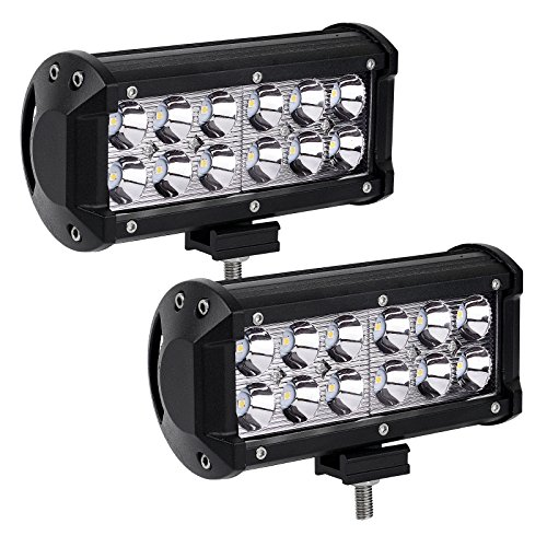 LED Light Bar YITAMOTOR 2Pack 36W 7inch Spot Led Light Pod LED Work Light Offroad Light Driving Light Fog Light Boat Light Waterproof for Camper Pickup Truck ATV AWD SUV 4WD 12V, 2 Years Warranty