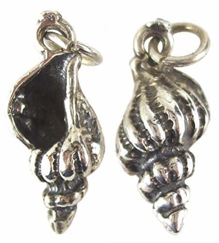 PlanetZia Sterling Silver Conch Shell Charm 15mm x 8mm TVT-SS-1583
